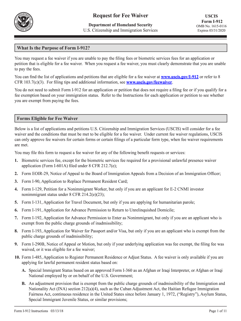 2018 Form USCIS I-912 Instructions Fill Online, Printable, Fillable