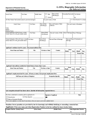 G-325A (Biographic Information) Form