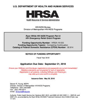 Fillable Online NOFO HRSA-19-033  Ryan White HIV/AIDS