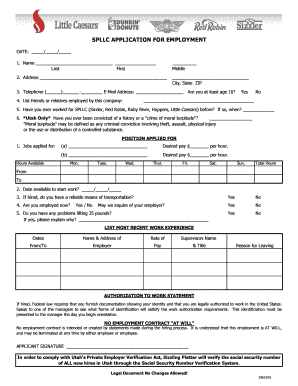 picture regarding Little Caesars Printable Application known as 2016-2019 Sort SPLLC Computer software for Work Fill On line