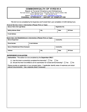 Fillable Online Funeral Internship - Report of Completion Fax Email
