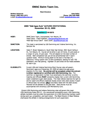 Fillable Online SWAC Swim Team Inc  - swimnacs com Fax Email