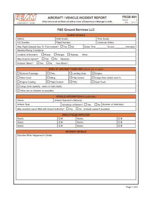 Fillable Online AIRCRAFT VEHICLE INCIDENT REPORT S
