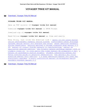 fillable online voyager trike kit manual voyager trike kit manual rh pdffiller com Voyager Trike Conversion Kits Voyager Trike Kit Problems