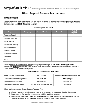 Fillable Online Direct Deposit Request Form First National