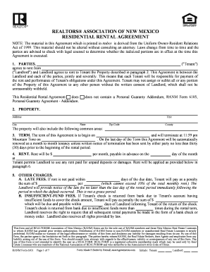 Fillable Online New Mexico Association Of Realtors Residential Lease