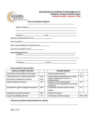 Fillable Online 2018 Application For Certificate Of Acknowledgement Of Asmbs Fax Email Print Pdffiller