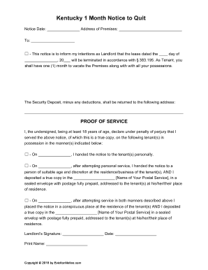fillable online kentucky 1 month notice to quit form non urlta