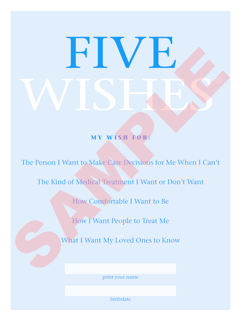 Sample Document Five Wishes Fill And Sign Printable Template Online Us Legal Forms