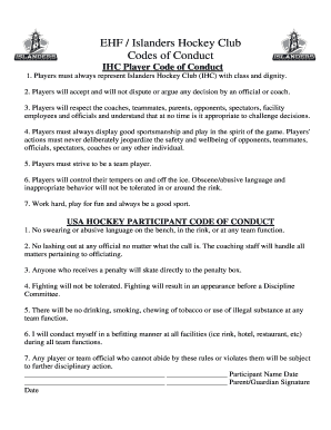 Fillable Online EHF / Islanders Hockey Club Codes of Conduct