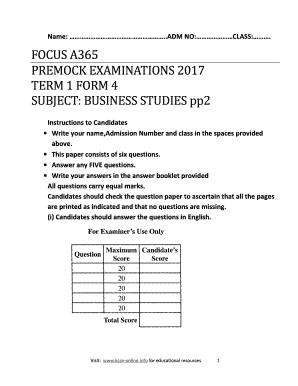 Fillable Online BUSINESS STUDIES FORM 4 P2 Fax Email Print - PDFfiller