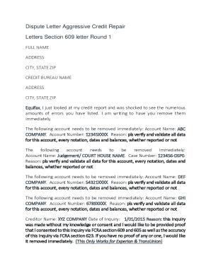 609 dispute letter template  Fillable Online Dispute Letters Templates - 16 Percent ...
