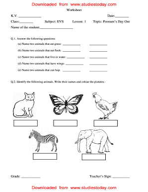 Fillable Online Worksheets EVS Class 3 Lesson 1-5 Fax Email