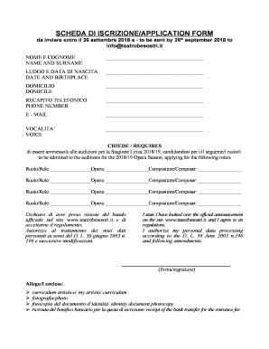 Fillable Online Scheda Di Iscrizioneapplication Form Cantare L