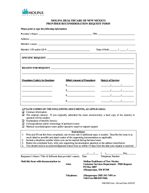 Fillable Online Pvdr Reconsideration Request PRR Form 02-2005