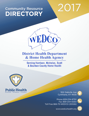 Fillable Online Community Resource Directory Wedco District Health Fax Email Print Pdffiller