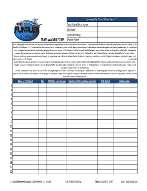 Fillable Online team waiver form - Gulf Breeze Fax Email