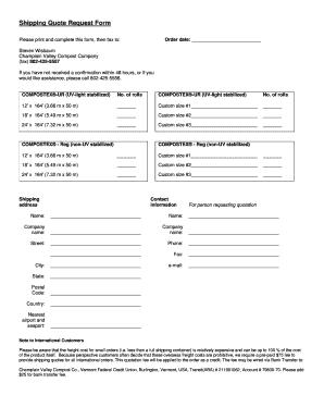 Shipping Quote Request Form   CV Compost