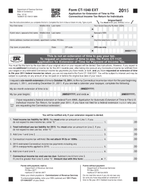 CT-1040 EXT, 2015 Application for Extension of Time to File Connecticut Income Tax Return for Individuals. 2015 Application for Extension of Time to File Connecticut Income Tax Return for Individuals