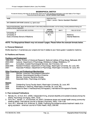 Fillable Online SAMPLE Biosketch Form Fax Email Print
