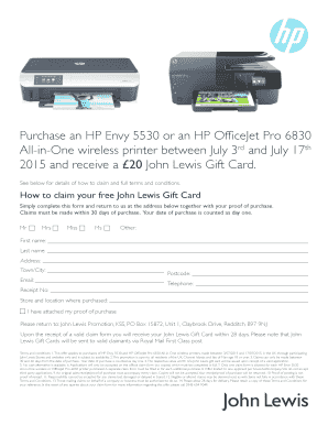 Fillable Online Purchase an HP Envy 5530 or an HP OfficeJet