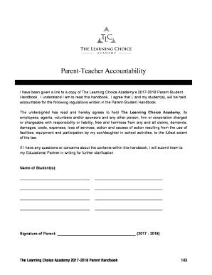 Fillable Online Parent-Teacher Accountability Fax Email