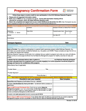 Fillable Online Pregnancy Confirmation Form Fax Email Print Pdffiller
