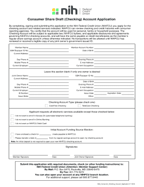 Fillable Online (Checking) Account Application - NIH Federal