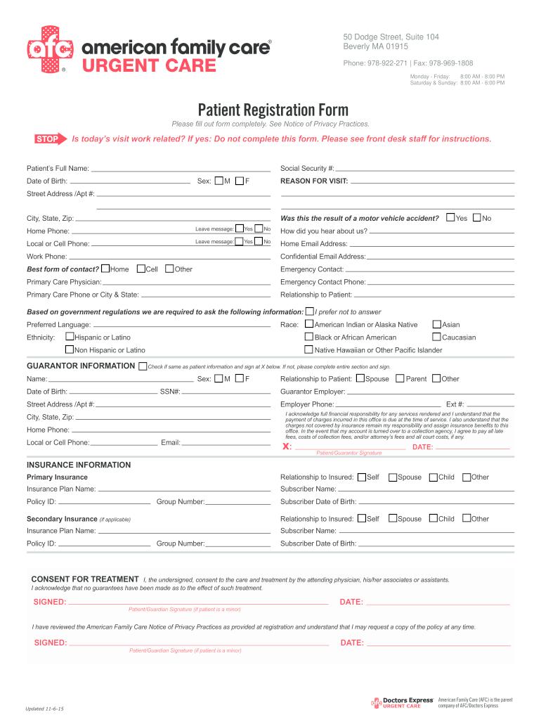 2015 Afc Urgent Care Patient Registration Form Fill Online Printable Fillable Blank Pdffiller