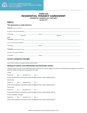 Fillable Online Residential Tenancy Agreement Form 1aa Word