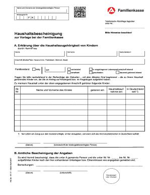 Fillable Online Haushaltsbescheinigung Kg 3a Kindergeld Fax Email Print Pdffiller