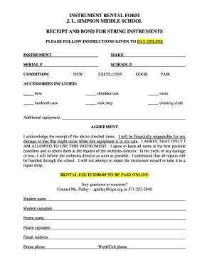 Fillable Online Instrument Rental Form Fax Email Print Pdffiller