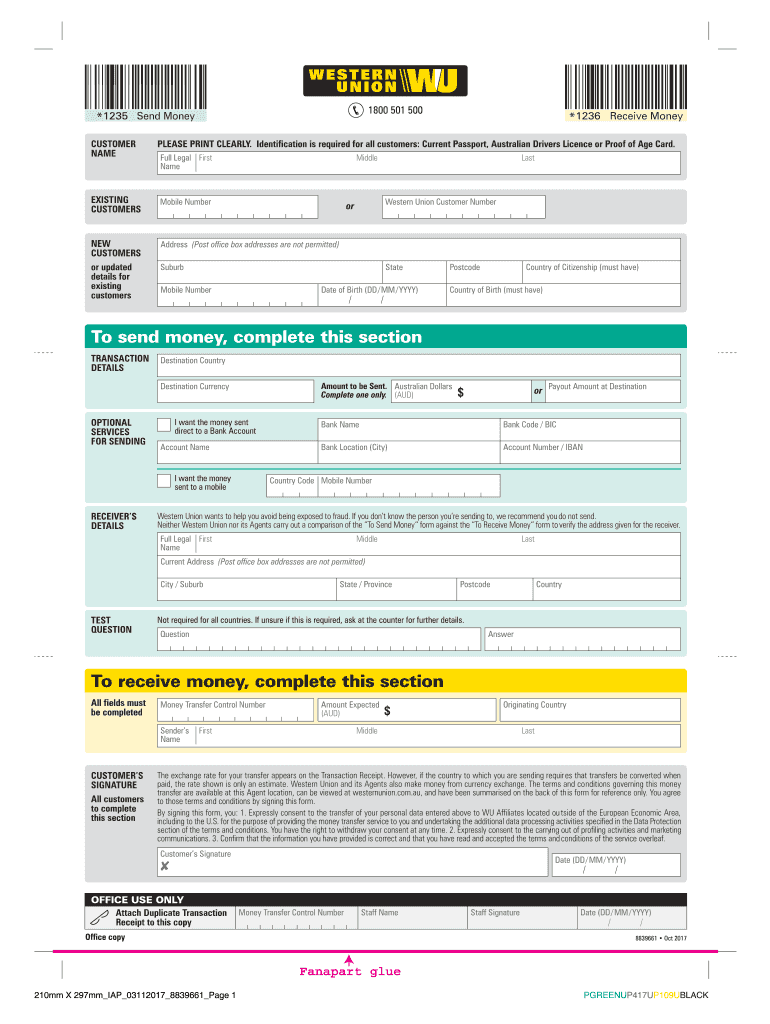 Western Union Form Fill Online