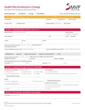 Fillable Online Mvp Commercial Health Plan Enrollment Or Change For