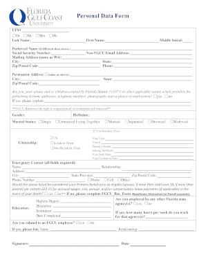 ferpa form fgcu  Fillable Online Personal Data Form - fgcu.edu Fax Email ...