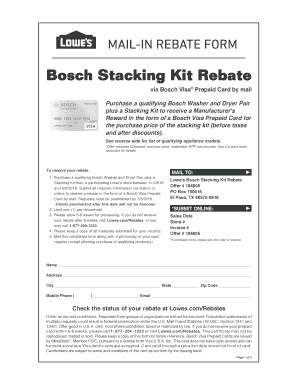 Fillable Online Bosch Stacking Kit Rebate - Ask Bosch Lowes
