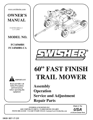 Fillable Online Pdf 60 FAST FINISH TRAIL MOWER