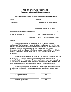 Fillable Online Co Signer Agreement Properties For Rent
