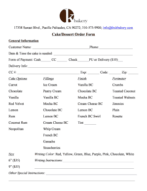 cake order form doc  Fillable Online Custom Cake Order Form - Online.doc Fax ...