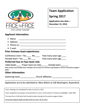 Fillable Online Team Application Spring 2017 Fax Email Print