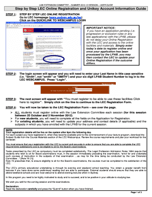 Fillable Online Step by Step LEC Online Registration and