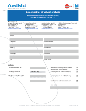 Fillable Online Data sheet for structural analysis Fax Email Print