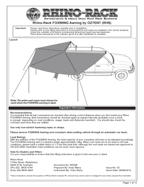 Fillable Online Fitting Instructions For Rhino Rack