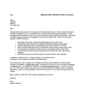 (Sample New Member follow-up letter) - AFE - Association for ... - chapters afe