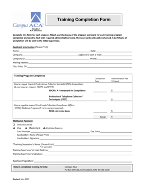 Fillable Online acainternational Training Completion Form ...