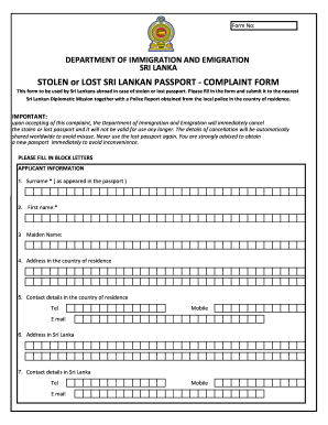 Sri Lankan Passport Application Form - Fill Online, Printable ...