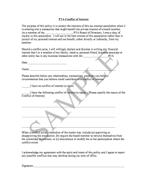 sample conflict of interest form njptaorg