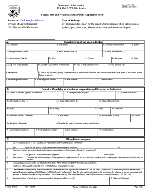 Fillable Online FWS 3-200-26; U.S. Fish and Wildlife License ...