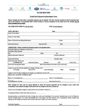 Hilton Credit Card Authorization Form - Fill Online, Printable ...