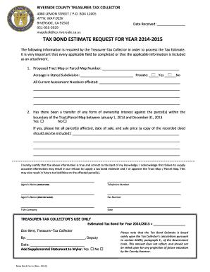 Tax Bond Estimate Request Form Riverside County